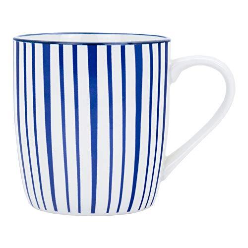Nicola Spring Tasse à thé/café - à Rayures Blanches et Bleues - 280 ML
