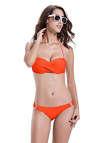 Reteron Damen Süßer Push Up Bandeau Twist Bikini Badeanzug Badeanzug - Orange - X-Large(42-44) - O-ring Bandeau