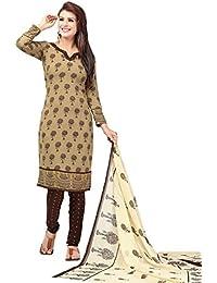A K Designer Women's Chiffon Dress Material (Mehak10008_Free Size_Brown)