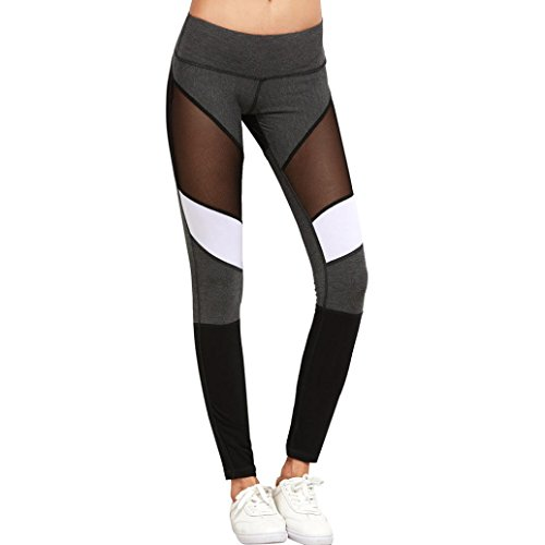 Sport Leggings Damen , ❤️• •❤️ LUCKYCAT 2018 Neu Fashion Yoga Hose Damen Hohe Taille Patchwork Gestreift Casual Atmungs Yoga Hosen Bleistifthosen Leggings Grau (Grau, M) (Ballett-jeans)