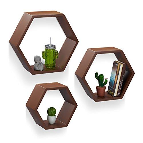 Relaxdays 10021898_93 set 3 mensole da parete, esagonali, legno mdf, decorative, per soggiorno, cameretta, marrone
