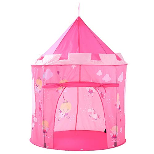 FANCYKIKI Rosa Spielzelt Elf gedruckt faltbare Indoor-Spielzeug Spielhaus für Kinder Kinder Kinder Jungen Mädchen Baby für Indoor & Outdoor-Spielzeug faltbare Spielhäuser Zelte mit Tragetasche Große G (Für 11-jährigen Mädchen Spielsachen)