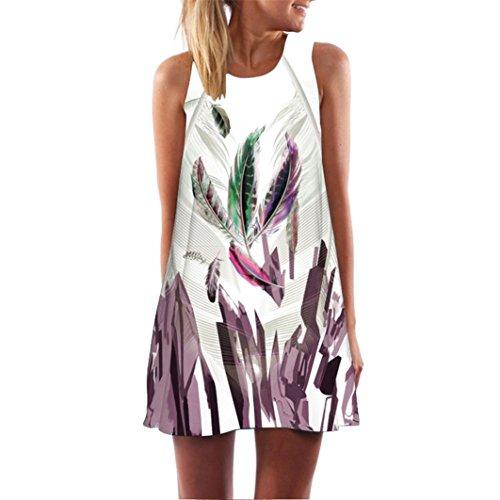 MRULIC Damen Lovely Mini Floral Printing A-Linie Kleider Beach Dress Vintage Boho Frauen Sommer Ärmelloses Party Kleide(W-Weiß,EU-42/CN-L)