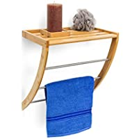 Relaxdays 10019188 - Toallero de pared de madera de bambú con 3 barras de metal, 40 x 38 x 24,5 cm, para toallas de baño y de mano, madera resistente a la humedad
