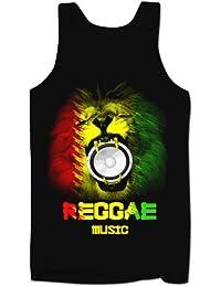 Homme Débardeur Décolleté Musique Reggae Rasta Lion