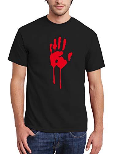 (clothinx Herren T-Shirt Halloween Bluthand Schwarz Größe XL)