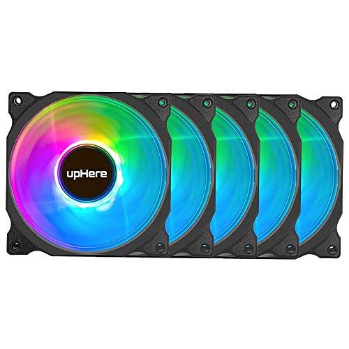 upHere RGB LED Ventilateur Silencieux 120mm pour Boîtiers PC, Refroidisseurs CPU et Radiateurs Ventilateur Ultra Calme, 5-Pack avec Télécommande(C8123-5)