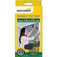 Schellenberg 50715 Mosquitera de protección para ventanas, lavable, Montaje rápido y sencillo desde el interior, sin taladros, Incluye banda de fijación, Antracita, Max. 130 x 150 cm