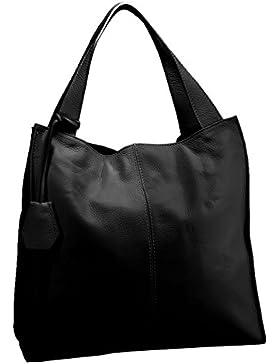 FERETI Damen Schultertasche Leder shopper Schwarz große tasche Handtasche aus sehr weichem leder