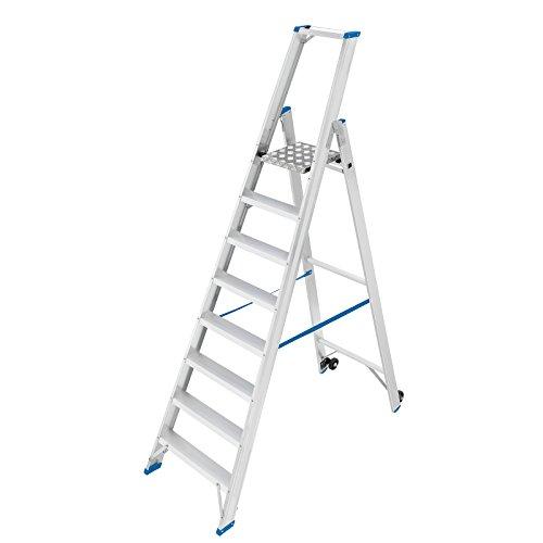EUROKRAFT Sicherheits-Stehleiter, einseitig begehbar - mit Plattform 300 x 300 mm, Ablageschale - 8 Stufen, ohne Handläufe - Alu-Leiter Alu-Plattformleiter Alu-Plattformleitern Alu-Stufenstehleiter Aluleiter Aluleitern Fahrbare Plattformleiter