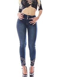 FARINA®1336 Pantalon vaquero de mujer, Push up/Levanta cola, pantalones elasticos colombian,color azul oscuro,talla 34-48/XS-3XL