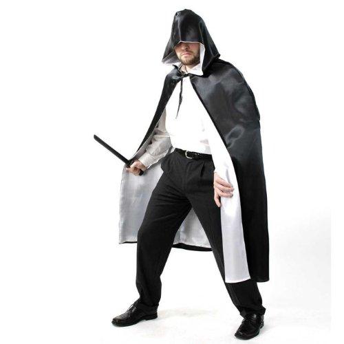 Kostüm Halloween Herrscher (Cape mit Kapuze schwarz/weiss Halloween Gr)