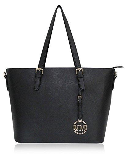 Vanessa & Melissa (Farbauswahl) Damen Handtasche TÜV GEPRÜFTES PU-Leder groß Shopping Bag Shopper A4 Tasche Freizeit/Schule/Büro (Shopper Schwarz Groß)