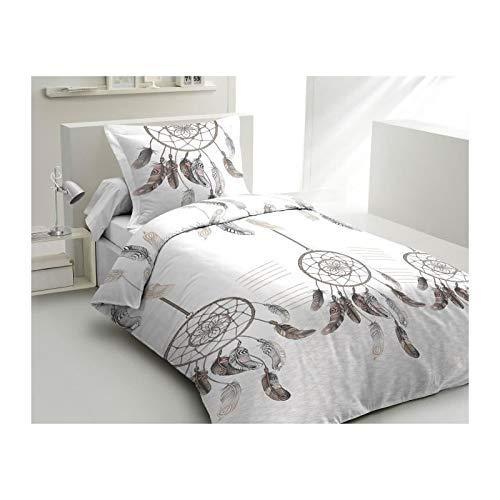 Lovely Home Bettwäsche Baumwolle fängt Träume-1Bettbezug 140x 200cm + 1Kissenbezug 65x 65cm weiß -