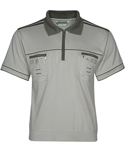 Blousonshirts Poloshirts mit kurzen Ärmeln einfarbige Polohemden Herren M/5XL Beige