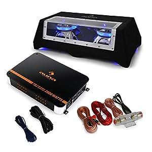 auna Black Line 120 • Car-HiFi-Set • Auto HiFi Lautsprecherset • Autoboxen Set • 25 cm Doppel-Subwoofer • Lichteffekt • 1400 Watt Endstufe • schwarz-Silber