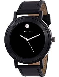 Passport Men's Black Dial Analog Wrist Watch - Classic Casual Watch | Comfortable PU Leather Strap - Black | Fashion...