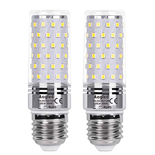 Aogled E27 Led Bulb Lamp 12W,Equivalent to 100W Halogen lamp,Daylight White 6000K,1200LM Corncob,Edison Screw Candelabra,Not Dimmable,No Flickering AC220-240V,Pack of 2