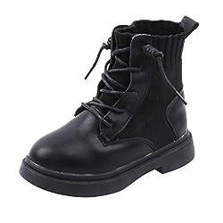 FNKDOR Schuhe Unisex Jungen Mädchen Herbst Kurz Kinderstiefel Schnürung rutschfest Lederstiefel Elastisch Atmungsaktiv Socken Stiefel Schwarz 26.5 EU