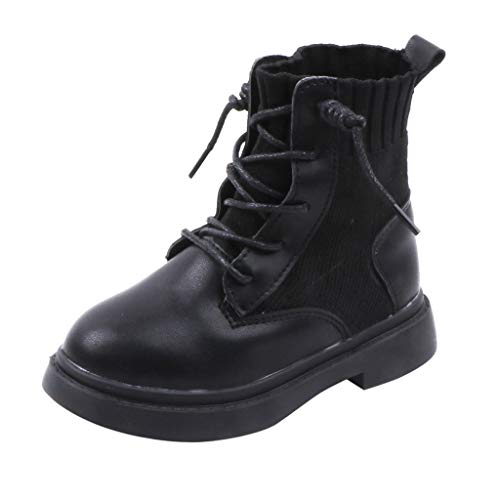 FNKDOR Schuhe Unisex Jungen Mädchen Herbst Kurz Kinderstiefel Schnürung rutschfest Lederstiefel Elastisch Atmungsaktiv Socken Stiefel Schwarz 27 EU