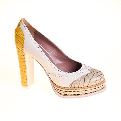 Hilfiger Collection Damen Pumps Leder Gelb Weiß Grau, Schuhgröße:41