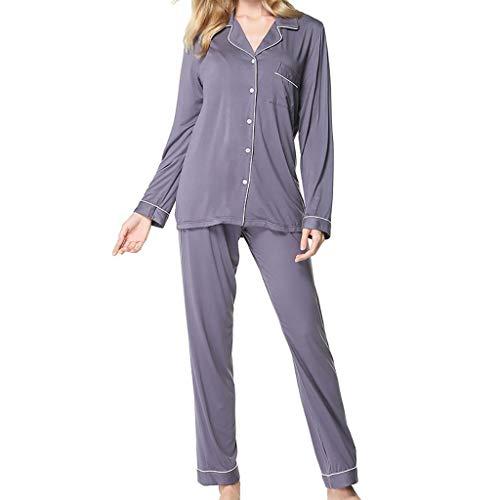 Vestito da donna da pigiama pantaloni a maniche lunghe vestiti la casa set in due pezzi