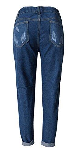 Brinny Damen Jeans Boyfriend Denim Hose röhre mit löchern Loch Jeanshose Dunkelblau