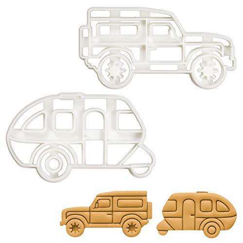 Bakerlogy Set of 2 Camping Vehicles (Designs: Caravan and SUV), 2 Pieces