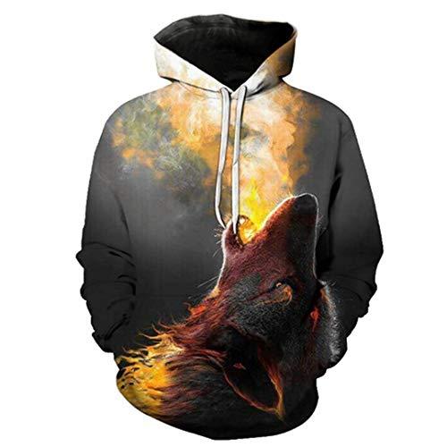 LLPOKM Hoody Männer/Frauen Mit Kapuze Hoodies Moon Print Doppel Wolf Cool Thin 3D Sweatshirts Trainingsanzüge Tops LMWY-386 M