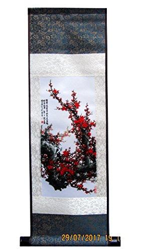 CHN Elements.home&kitchen XL-S138-Delicate Good Luck Feng Shui Wanddekoration Seidenrolle mit chinesischem Gemälde und Kalligraphie auf Kirschblüten (140 cm lang)