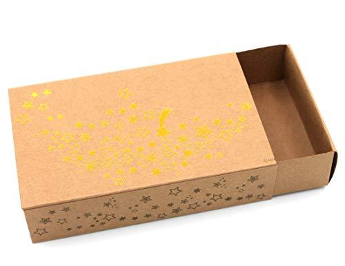 Heku Geschenkschachtel Weihnachten ~ Gold, Sterne mit Metallic-Effekt, Karton in Natur-Optik ~ 16x10x6cm ~ Farbe/Motiv wählbar ~ Kiste Geschenk-Box aus Pappe (Natur-geschenk-box)