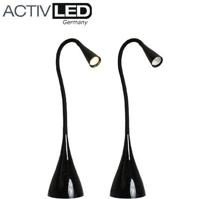 LED Schreibtischleuchte *swan* flexibel in schwarz Tischleuchte Schreibtischlampe