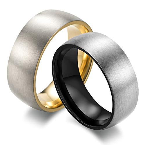 Ringe Paar Gold Schwarz Matt Rund Breite 8 MM Hochzeitsringe Verlobung Ringe Herren Homosexuelle Gold Gr. 62 (19.7) + Schwarz Gr60 (19.1) ()