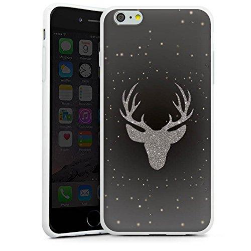 Apple iPhone X Silikon Hülle Case Schutzhülle Hirsch Glitzer Muster Silikon Case weiß