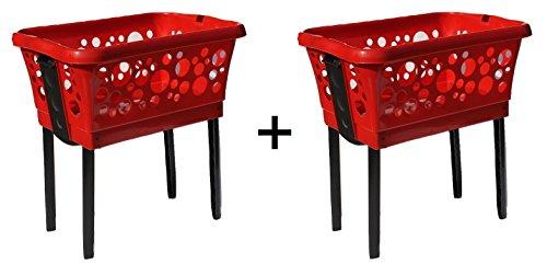 Wäschekorb-Set 2 Körbe aus Plastik mit Klappfüßen stabil und stapelbar in weiß, blau, schwarz, grün, rot, gelb, pink - Farbe wählbar …