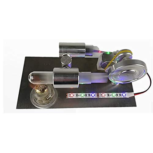 Batop Stirlingmotor Bausatz, Externe Verbrennungs Dampfmaschine Stirlingmotor mit Generator und Farbe LED, Stirlingmotor Modell DIY Physik Unterricht Spielzeug