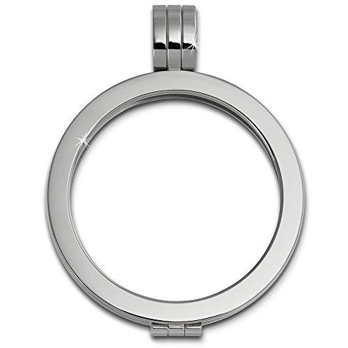 edelstahl kettenanhaenger Amello Coin Edelstahl-Kettenanhänger silber - Edelstahlanhänger - Coinsfassung für Damen - Edelstahlschmuck Stainless Steel ESC001J