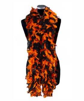 PARTY DISCOUNT Federboa, ca. 180 cm lang, orange-schwarz