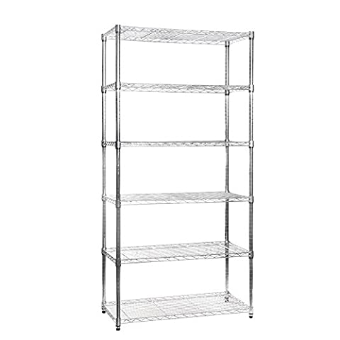 Shopfitting Warehouse Large 180cm x 90cm x 45cm Chrome Wire Shelving with 6 Shelves/Tiers, Strong Steel/High Quality, Ideal Storage for Kitchen, Office, Commercial, Home