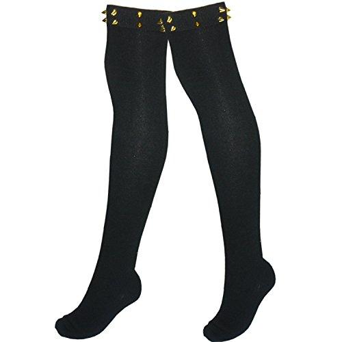 Damen Schenkel hohe Baumwollstrümpfe Overknees mit Metallverzierungen L / XL (1 Paar schwarz mit Spikes Nieten Nieten)