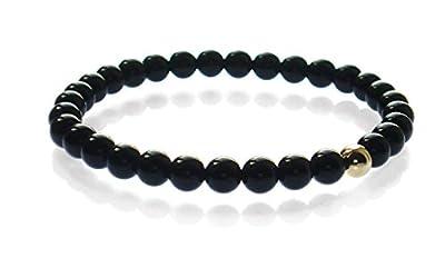 Onyx Armband mit 375 Gelb Gold und 6 mm Perle