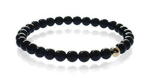 Mens Black Onyx & 9ct Gold Bead Stretch Bracelet