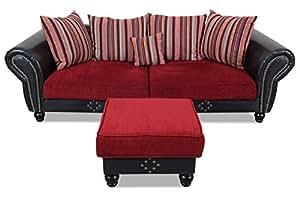 Sofa Mit Hocker Bigsofa Carlos Couch Rot Federkern UMzVpqS