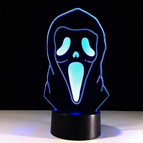Joplc Halloween Maske 3D Illusion Lampe bunte Farbverlauf Atmosphäre Lampe Kinderzimmer Dekoration Beleuchtung (Machen, Ideen Zu Halloween-masken)