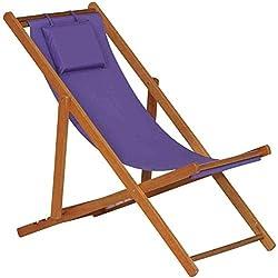 Siena Garden 672588 Faro - Tumbona de madera maciza, color morado
