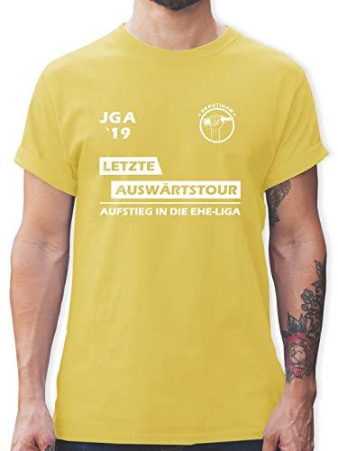 Kostüm Ball Ideen - JGA Junggesellenabschied - JGA 2019 Letzte Auswärtstour Bräutigam - M - Lemon Gelb - L190 - Herren T-Shirt und Männer Tshirt