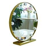 Kosmetikspiegel Mit LED-Leuchten Mit 9/12 Dimmbaren Glühlampen Für Make-up-Dressing-Tischspiegel (Gold) (größe : Durchmesser 50cm)