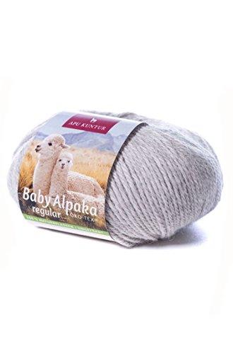 Baby-Alpaka Wolle 5er-Pack REGULAR 5x50g 100m Nadel 4 Strick-Häkel-Garn APU KUNTUR hell-grau