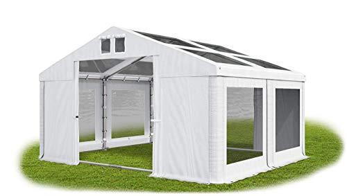 Das Company Transparentes Partyzelt 4x4 m wasserdicht weiß mit Bodenrahmen Dachplane modular 580g/m² PVC hochwertig Gartenzelt Summer Floor MST