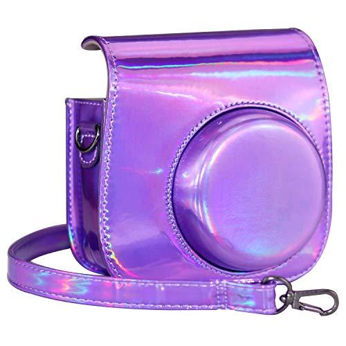 Cpano Mini PU Leder Kameratasche für Fujifilm Instax Mini 8/8+/9 Sofortbildkamera mit verstellbarem Schultergurt (Helles Lila)
